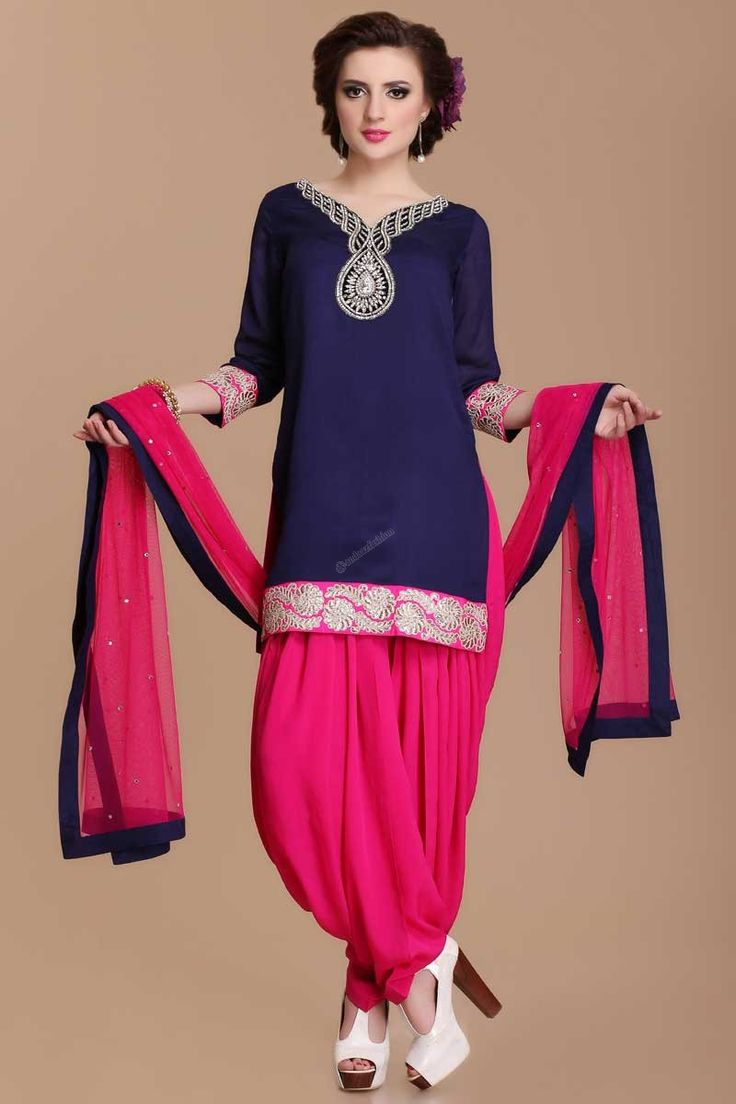 Navy Blue Patiala Salwar Suit price:-£59.00 Navy Blue, Viscose, ready to wear patiala suit. Neck and daman/hem embroidered with zari, zircon and crystal work.V neck, Hip length, quarter sleeves kameez. Pink viscose patiala salwar. Pink net dupatta with contrast border with work.It is perfect for party, wedding, festival and casual wear. http://www.andaazfashion.co.uk/navy-blue-patiala-salwar-suit.html