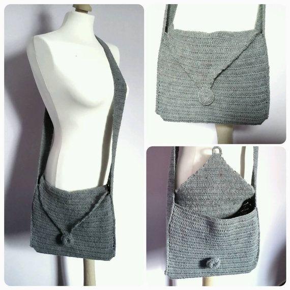 Handmade grey  crochet cross /messenger bag/ by KaterinakiJewelry
