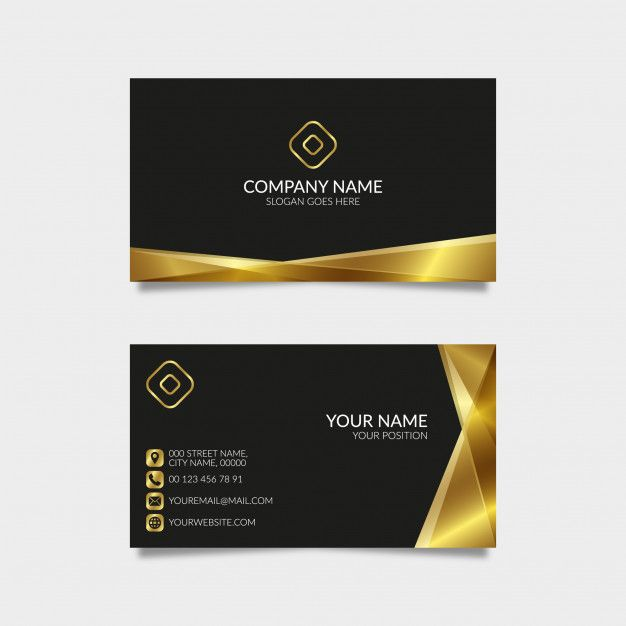 Modern Golden Business Card With Black Background Modern Business Cards Event Planning Business Cards Event Planning Business Logo