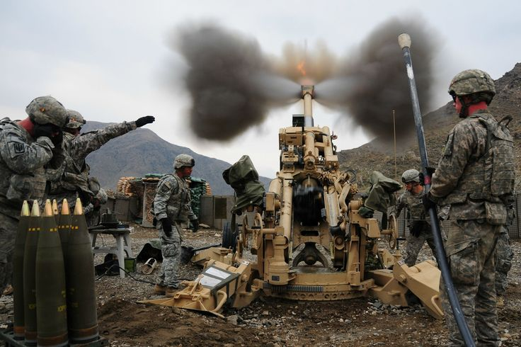 Soldiers use the M777 howitzer to fire high explosive munitions in support of Operation Enduring Freedom in 2008.