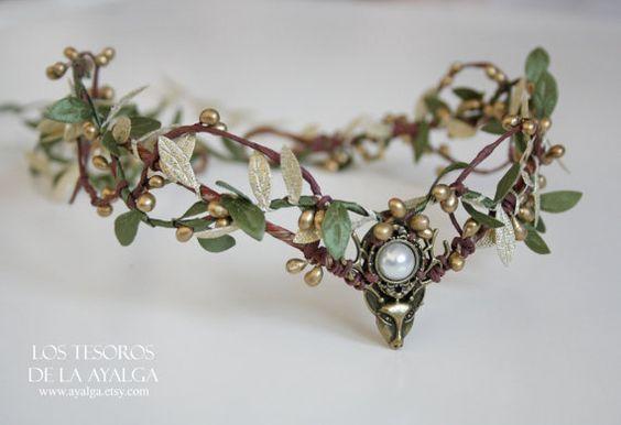 Tiara de coroa de veado da floresta – elven headpiece – coroa de fadas – coroa de festival – tiara boho – tiara – coroa – tiara de elven – coroa de elven – veado   – Hochzeitszubehör