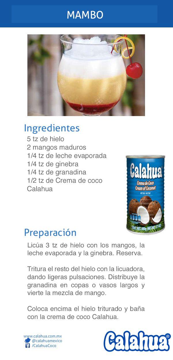Ginebra, mango y crema de coco Calahua es una deliciosa combinación en este coctel: Mambo.