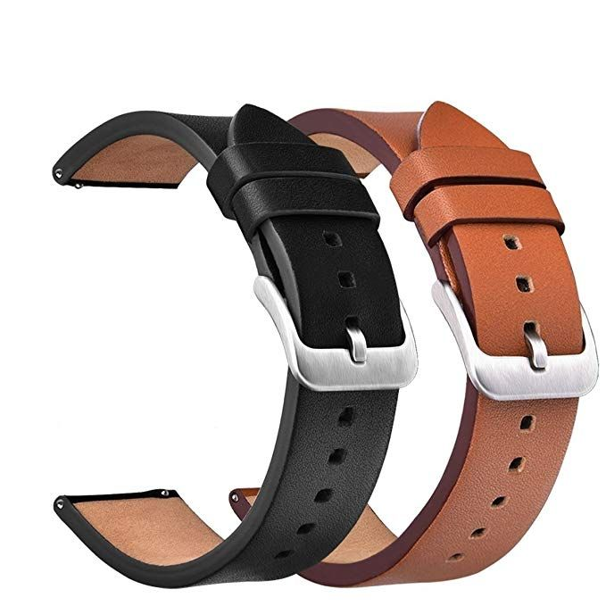 V Moro Gear S3 Classic Frontier Bands 22mm Genuine Leather Replacement Band Watch Strap Screen Protector 2 Pack Samsung Gear S3 Classic S3 Frontier Smartwat Genuine Leather Leather Watch Bands Watch Strap