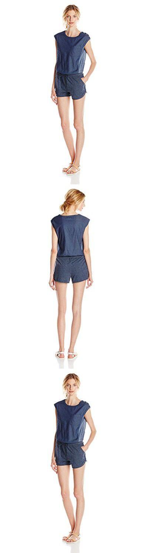 Kensie Jeans Women's Super Light Weight Denim Top with Knit Bottom Mix Romper, Radar Love, Medium
