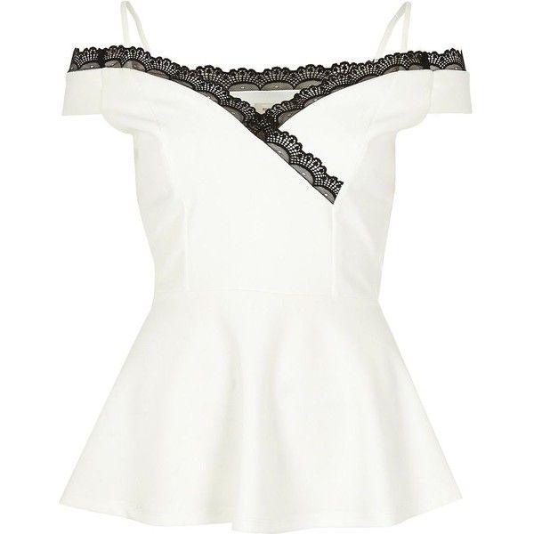 River Island White lace trim peplum top ($39) ❤ liked on Polyvore featuring tops, white, river island and river island top