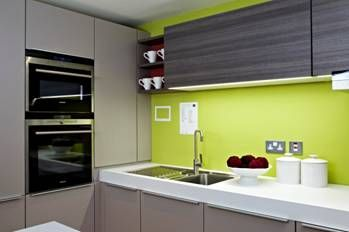 lime green kitchen. I love it :-) and with a plum color