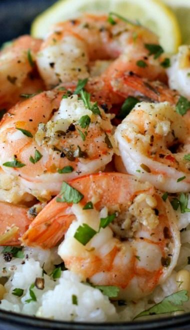 Lemon Shrimp with Garlic and Herbs and Cilantro Lime Rice