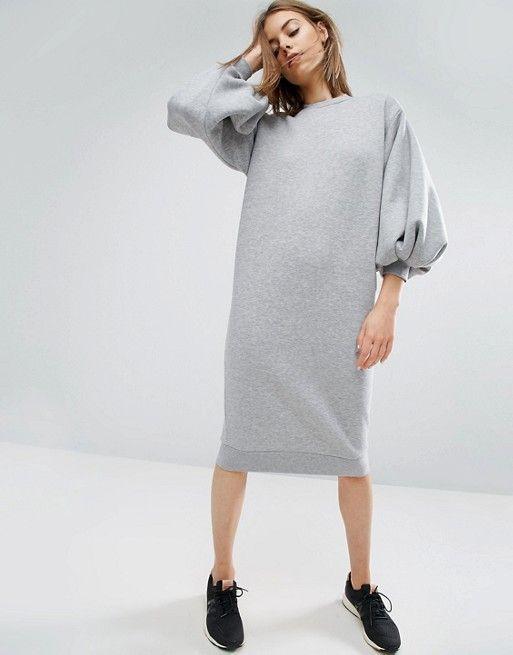 Oversized grey sweater dress - bell sleaves | ASOS WHITE Sweatkleid mit Ballonärmeln