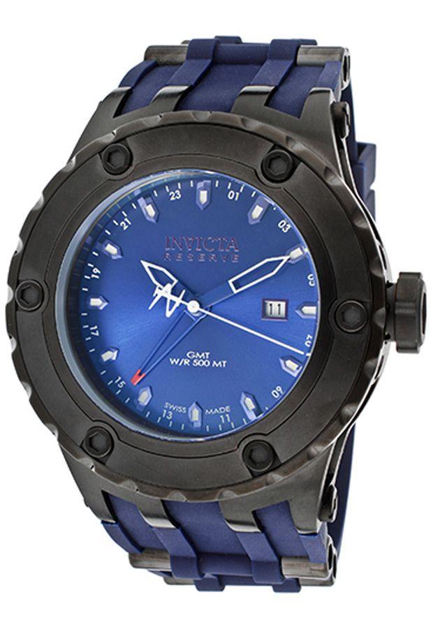Invicta Men's Subaqua/Reserve GMT Blue Dial Blue Polyurethane - http://fancyup.me/2014/04/01/invicta-mens-subaquareserve-gmt-blue-dial-blue-polyurethane/