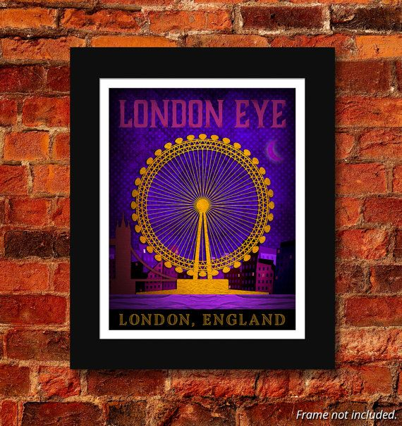 London Eye Art Print  11x14 by HannahDooleyDesigns on Etsy