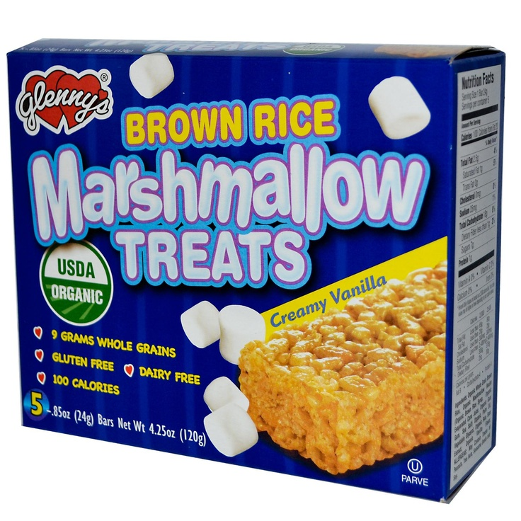 Glenny's, Brown Rice Marshmallow Treats, Creamy Vanilla, 5 Bars, .85 oz (24 g) Each - iHerb.com