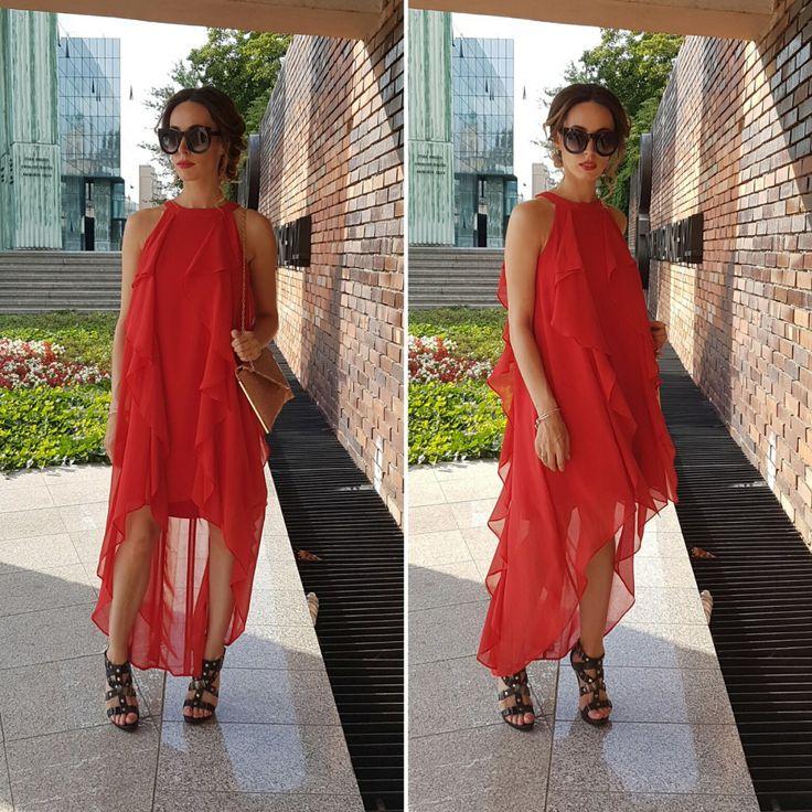 elegant red, asymetric, maxi dress with ruffles, halter neck / eleganka długa, asymetryczna sukienka z falbanami, na szyję