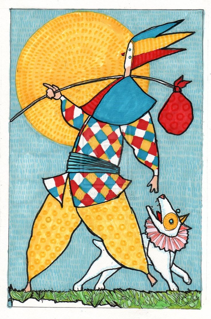 The Fool: .The Fool Tarot Card By Marmot