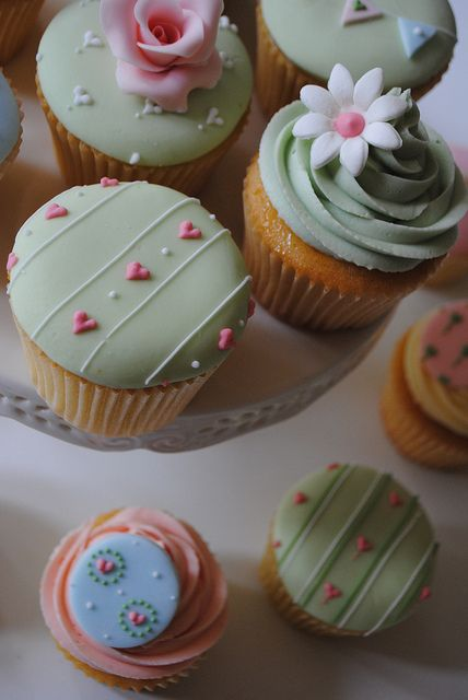 Christening cupcakes by Bath Baby Cakes, via Flickr. Love these colours, nice change from pink, blue, yellow for a baby