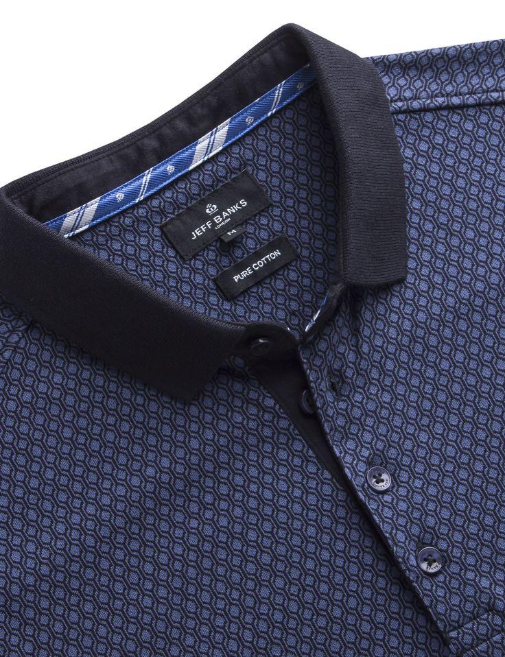 Jeff Banks Blue Geo Jacquard Polo Shirt