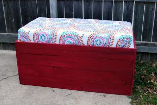 Use a crib mattress and shower curtains to create a cute outdoor bench with lots of storage underneath. A Diva's Dabbles.