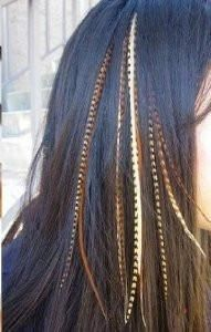 4-6 feathers- Five Natural Dark Browns with Beige Mix Feathers for Salon Quality Hair Extension.