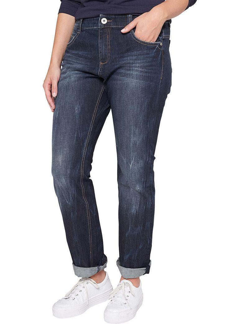 """Jeans Unregelmäßige Waschung und Tragefalten-Effekte. 5-Pocket-Form mit paspeliertem Münztäschchen. Figurbetonte Passform """"Kurvig"""" mit leicht vertieftem Bund und schmalem Bein für eine ausgeprägte Hüfte, einen runden Po und stärkere Oberschenkel. Baumwolldenim mit Elasthananteil. Ein zeitloser Klassiker, der einfach zu allem passt und in keinem Kleiderschrank fehlen darf..  Materialzusammensetz..."""