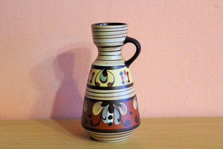 Vintage Schlossberg Ceramic Handled Vase 303 16 Germany Pottery Small Brown Pitcher Jug Floral by Grandchildattic on Etsy