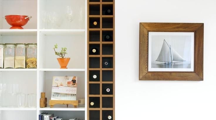 Shelving units & built in wine rack fixture in kitchen renovation