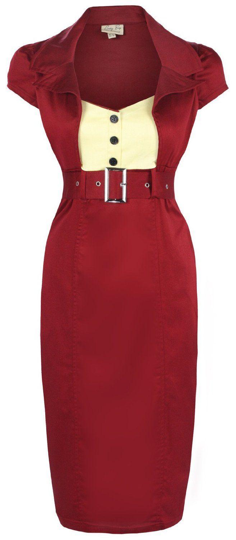 Amazon.com: Lindy Bop 'Wynona' Chic Vintage 1950's Secretary Style Pencil Wiggle Dress: Clothing