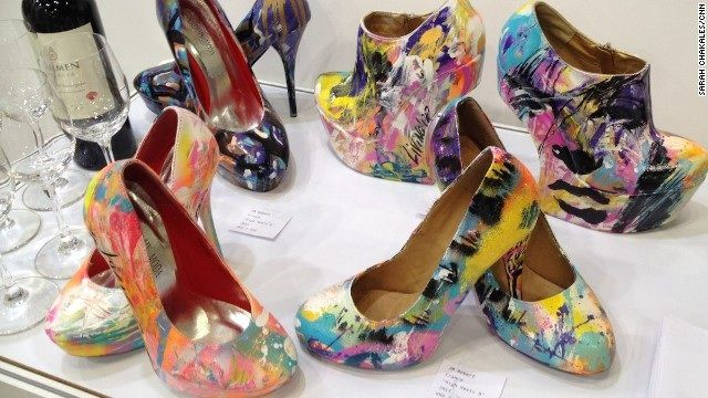 A selection of painted high heel shoes