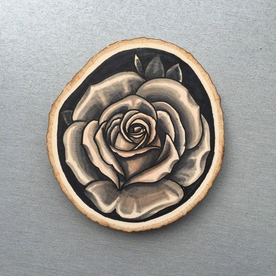 Wood / tree slice with original drawing of a rose, wall art