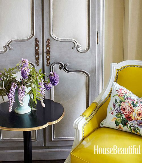 Grey and yellow- fab: Living Rooms Chairs, The Doors, House Beautiful, Interiors Design, Colors Combinations, Armoire, Kansas Cities, French Antiques, Yellow Chairs