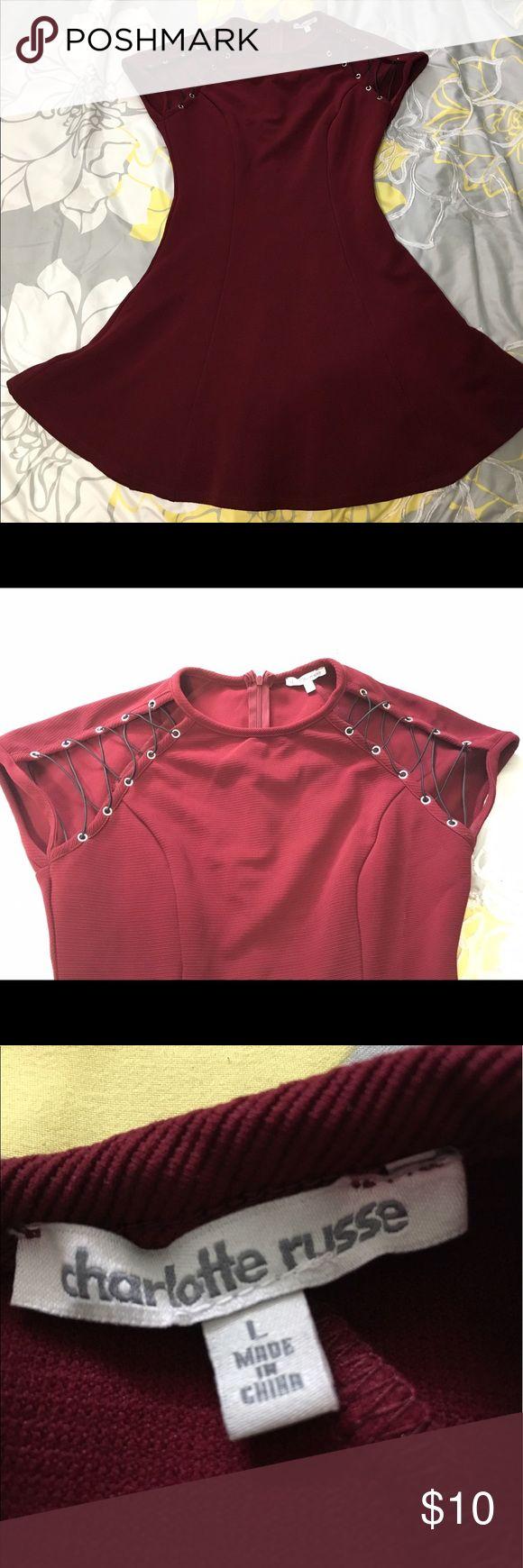 Maroon skater dress Charlotte Russe maroon skater dress with lace up shoulder detail size L euc Charlotte Russe Dresses