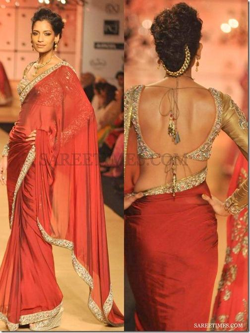 Georgette sari by Ashima Leena at Delhi Couture week 2012