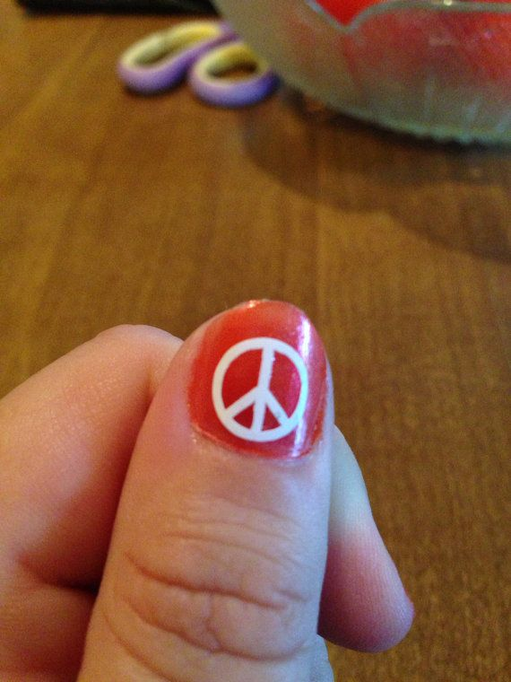 20 Peace Sign Nail Decals by MoonWorksEmporium on Etsy, $3.00