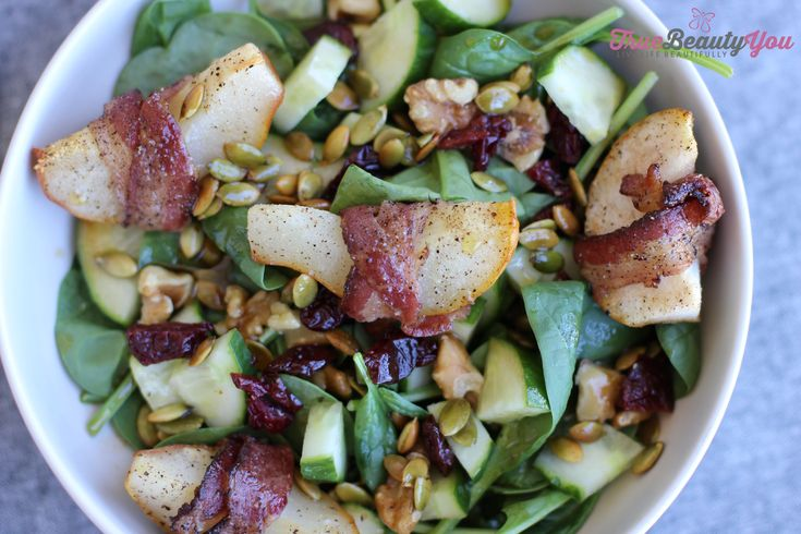 Sweet and Savory Fall Salad with Bacon Wrapped Bartlett Pears http://www.truebeautyyou.com/sweet-and-savory-fall-salad/