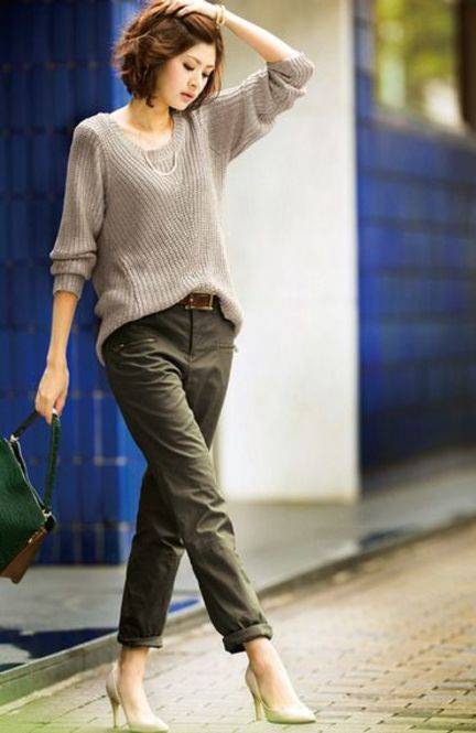 Olive green cargo pants and gray sweater