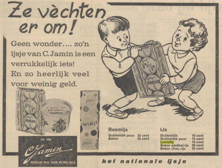 De limlolly vond ik zo lekker! Groot roze ijsje. Na verorberd te hebben, had je een knalroze tong. Ik betaalde er 15 cent voor bij Jamin. Kan geen plaatje er van vinden, behalve deze advertentie uit 1963