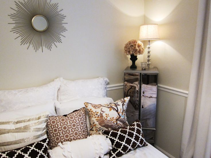 Super Chic Bedroom With Pier 1 Petite Gold Burst Wall
