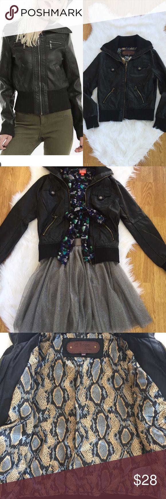 BLACK FAUX LEATHER JACKET Black faux leather jacket. Great versatile item. Pockets have zippers. Fun print on inside of jacket. Ci Sono Jackets & Coats