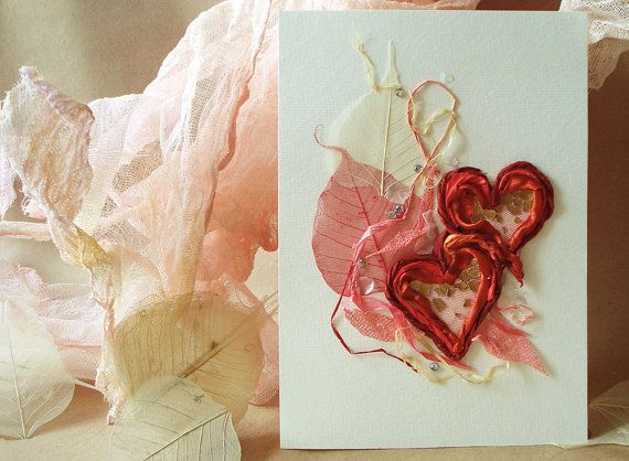Handmade card Mixed media card Valentines day by FloralCollage