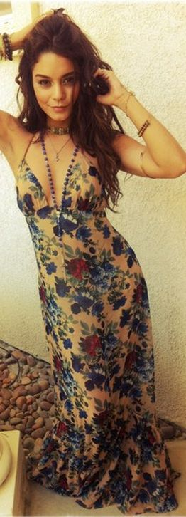 Who made  Vanessa Hudgens rose print maxi dress?