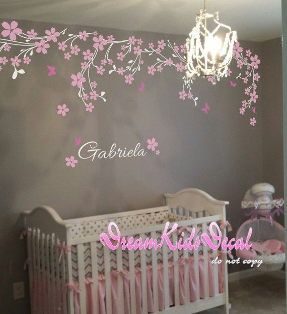Nursery wall decal baby girl and name wall decals cherry blosssoms wall sticker wedding office-Pink vines with Butterfly decals-DK114