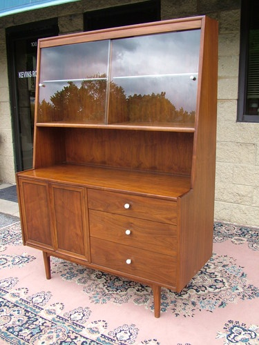 drexel declaration midcentury modern china cabinet bookcase figural walnut