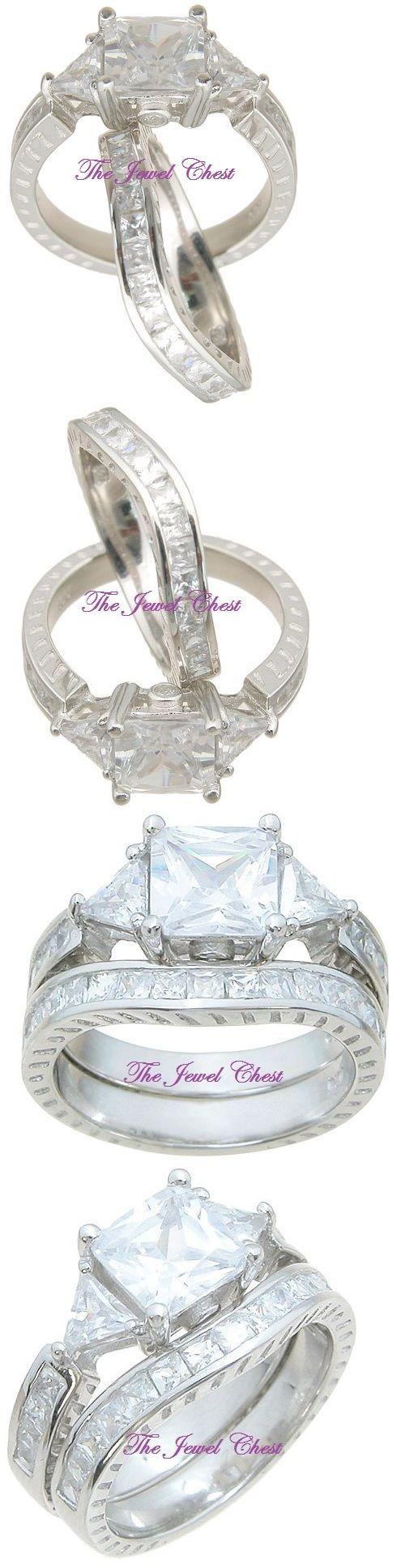 ebay eheringe ebay wedding rings sets Other Wedding Ring Sets 3 50 Ct Princess Trillion Diamond Antique Engagement Ring Set White