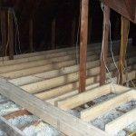 attic storage with blown insulation