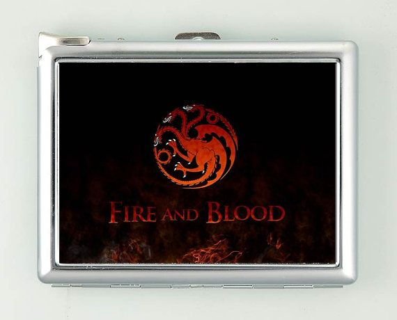 House Targaryen - Fire And Blood Cigarette Case with Lighter Wallet CGC1556    ***********************************  We sell only case & lighter. We