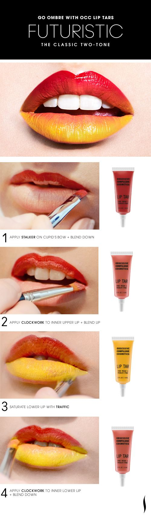 Try combining #OCC Lip Tars using bold colors and graphic treatments for an eletropop effect.