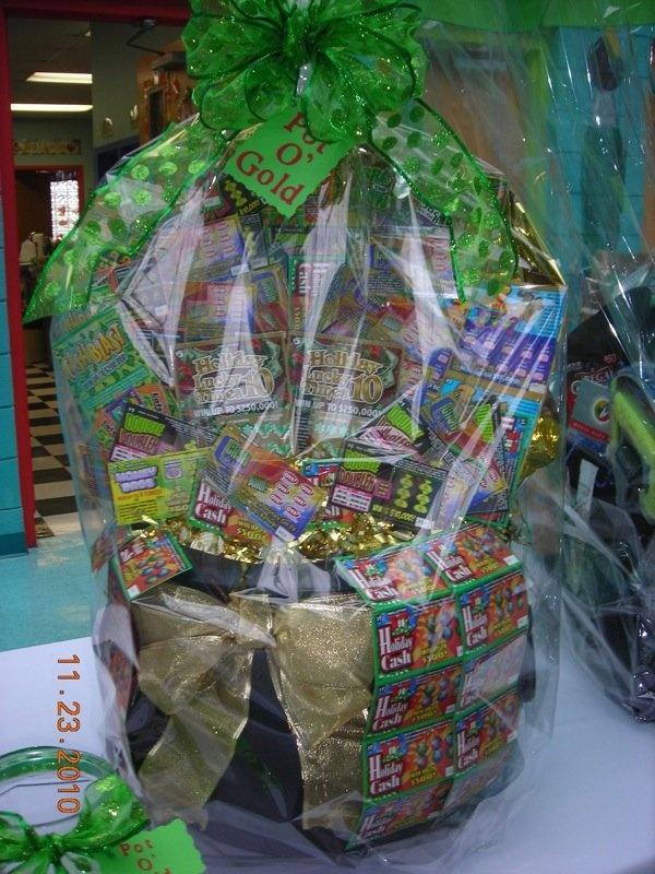 Pot of Gold raffle basketAuction Baskets, Gift Baskets, Fundraisers Baskets, Baskets Raffle, Crafty, Fundraisers Ideas, Auction Ideas, Lottery Ticket Gift Ideas, Baskets Ideas