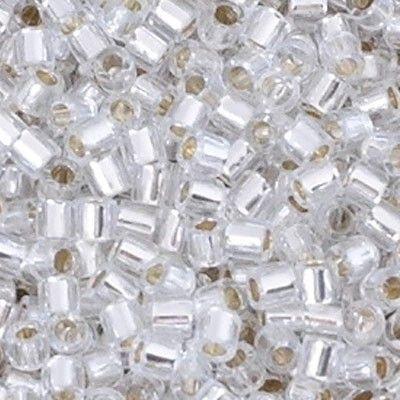 Miyuki Delica 8/0, perlina giapponese in vetro pressato di alta qualità, dalla forma cilindrica, perfetta e impeccabile nel taglio e nella regolarità della dimensione. La più grande tra le perline della stessa famiglia, misura 3 mm circa, con un foro di 1,40 mm e proprio grazie all'ampiezza del foro è particolarmente adatta ai lavori di Macramè,....magari utilizzando il fantastico filo super-Lon in tutte le sue varianti di colori.