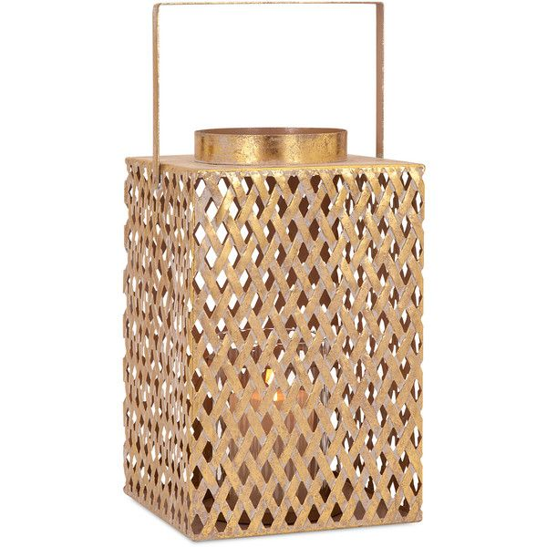 Azara Lattice Large Lantern ($62) ❤ liked on Polyvore featuring home, home decor, candles & candleholders, contemporary candle holders, square lantern, contemporary home decor and square candle holders