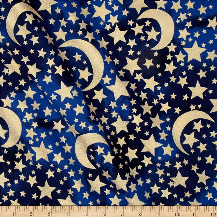 Stars metallic moon stars midnight from designed for michael miller this cotton print fabric is perfect for quilting apparel and home decor accents