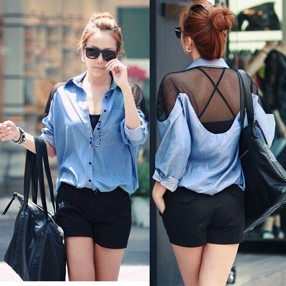 Women's Imitation Denim Splicing See-through Mesh Long Sleeve Shirt Loose Tops