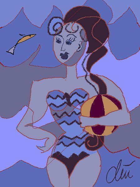 JACQUELINE DITT - Wellenbad limitiert Original Grafik signiert Fisch Bilder art